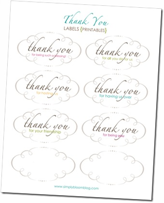 Thank You Label Printable