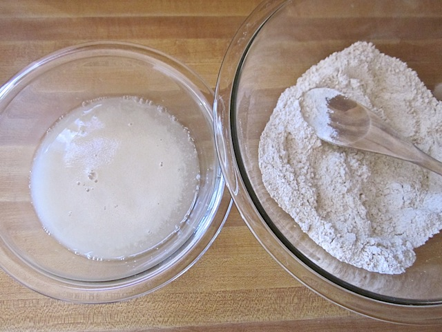 frothy yeast and flour