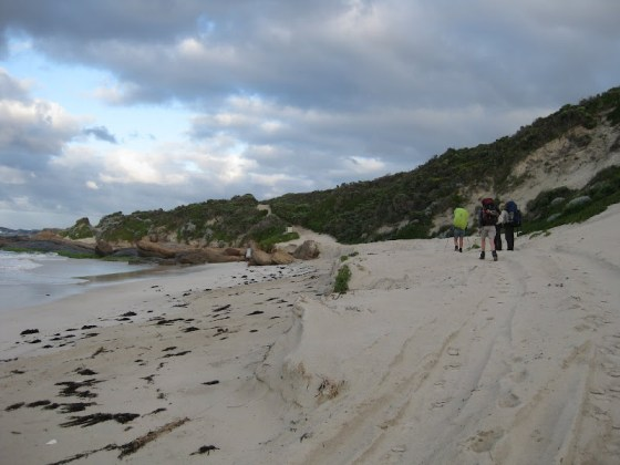 Exiting Deepdene Beach for the scramble into Hamelin Bay - Cape to Cape Track