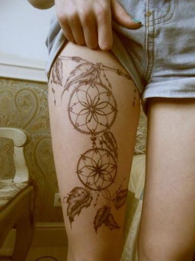 thigh Dreamcatcher Tattoos for girls