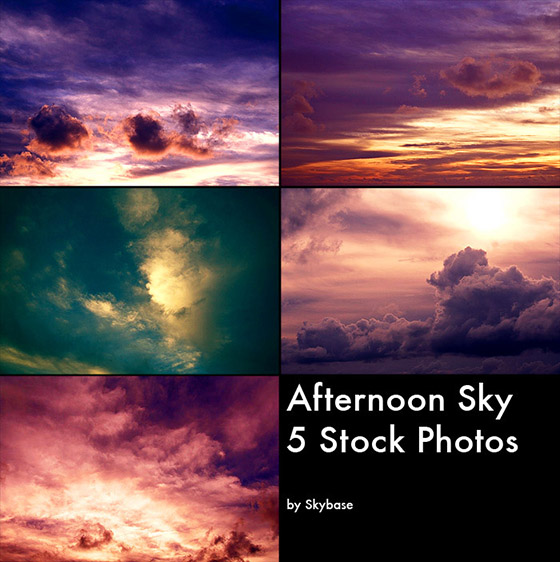 Pacote de imagens céus de tarde
