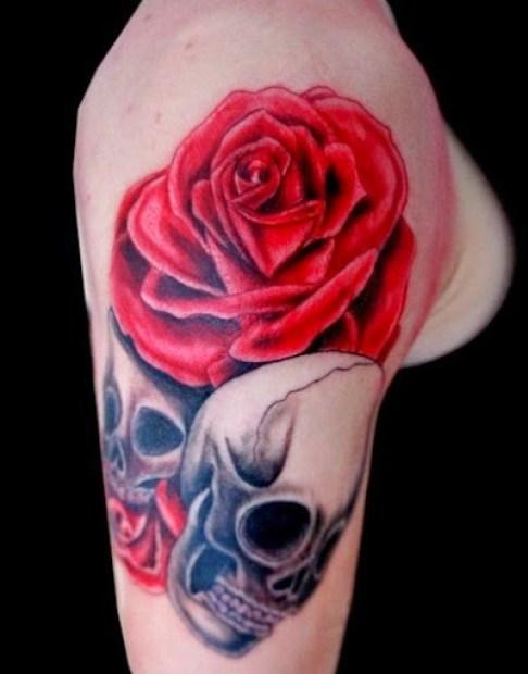 rose tattoos arm sleeve