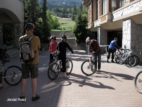 Choosing our bikes for the pedal and paddle tour with Whistler Eco Tours