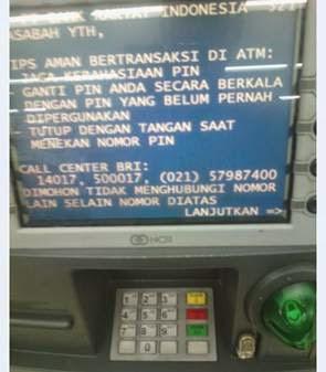 Masuk menu ATM