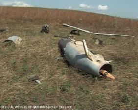 Wreckage of the unmanned aerial vehicle near Vazgenashen, Nagorno Karabakh. Official photo