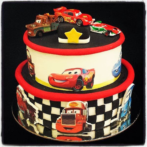 ... cars cake image toppers and cars figurines and toys to add to the cake