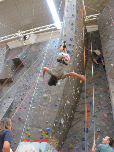 Crazy wall climbing stunts at Taupo events centre, New Zealand