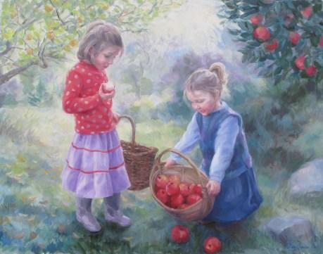 'Applepickers' Oil 27 x 21in