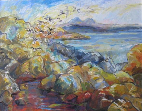 'Gille Bridie Rocks' Oil 26 x 20in