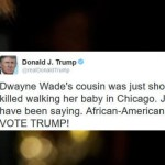 "Donald Trump:  ""Dwayne Wade's cousin was just shot and killed walking her baby in Chicago.  Just what I have been saying.  African-Americans will VOTE TRUMP!"""