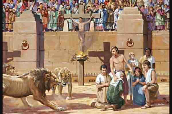 Christian martyrs being slain in the Roman Colosseum.