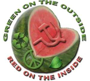 Watermelon: green on the outside, red on the inside.