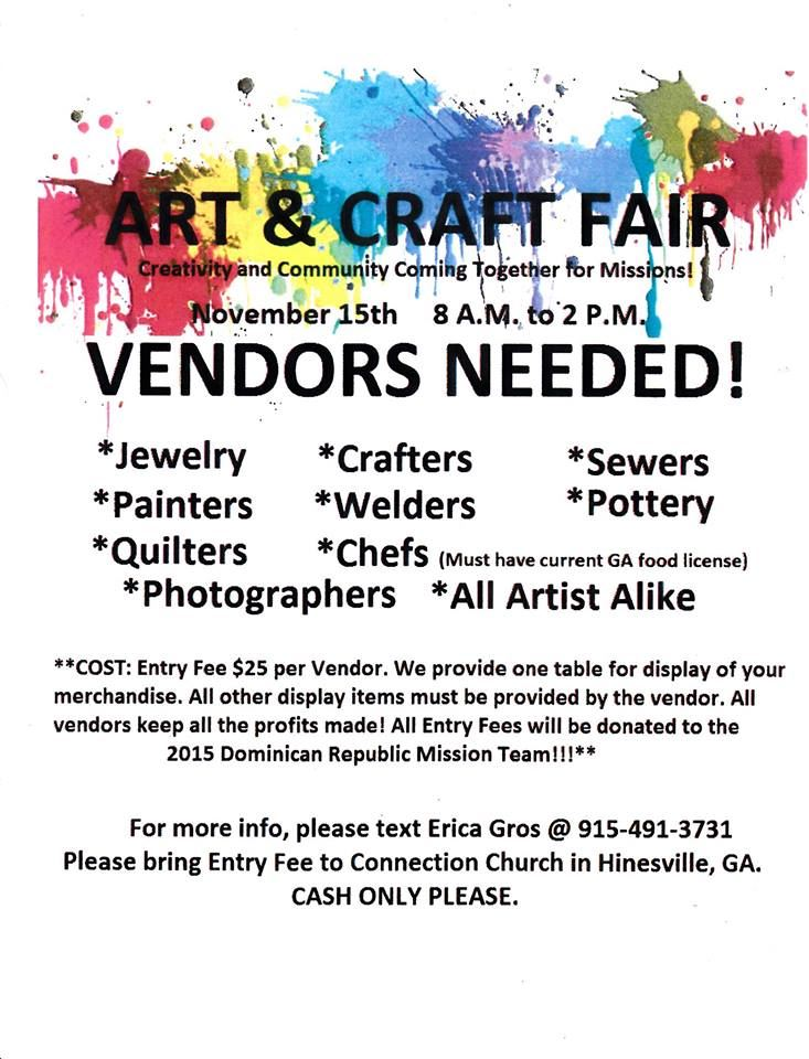 Upcoming events art craft fair liberty county for Arts and crafts festivals in georgia