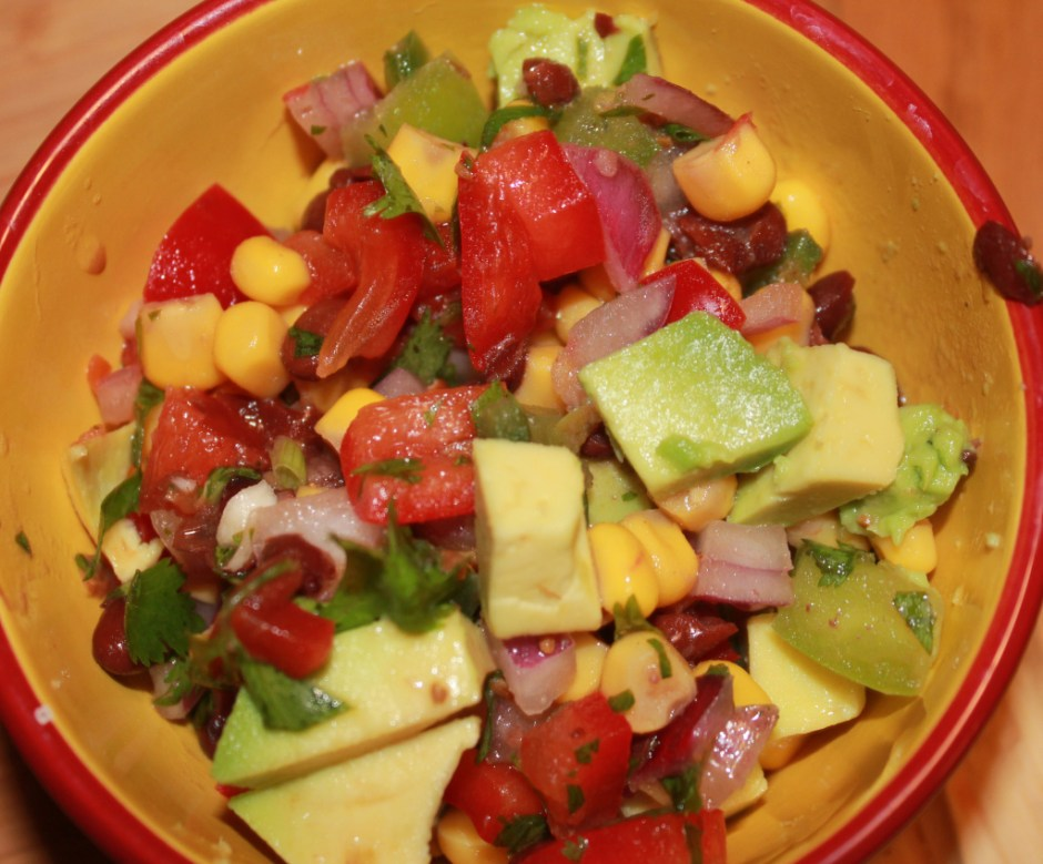 black bean and corn salsa with avocado