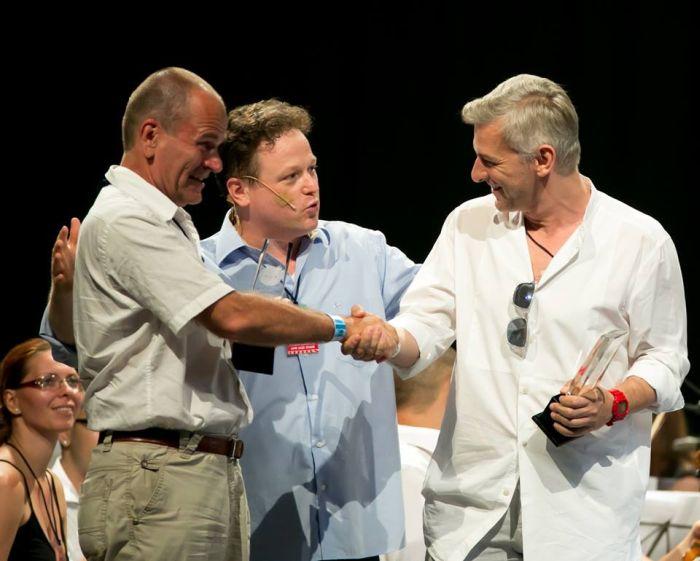 Gyüdi István, Vajda Gergely karmester, az Armel Opera Festival művészeti vezetője és Alföldi Róbert (fotó: Kállai-Tóth Anett)