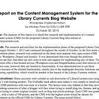 A Report on the Implementation of Wordpress as the CMS for Library Currents
