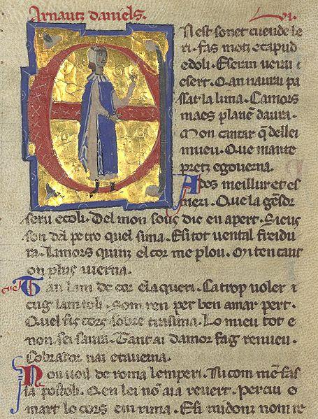 Página de un cancionero del s. XIII que muestra una representación de Arnaut Daniel.
