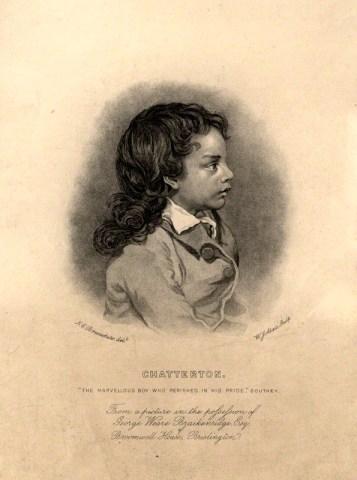 Niño desconocido como Thomas Chatterton. Grabado de John Alais