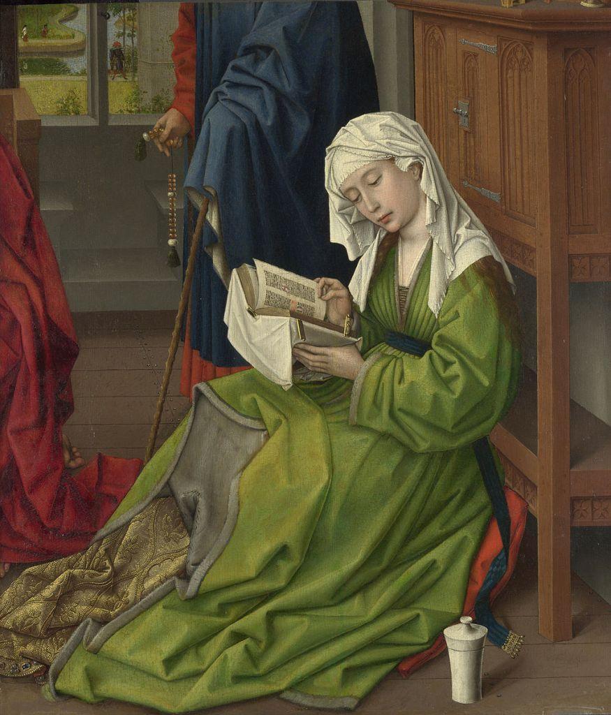 La Magdalena Leyendo, óleo sobre madera de Rogier van Weyden completado entre 1435 a 1438.