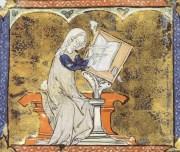 María de Francia, como aparece en un manuscrito