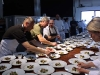 Todd Humphries (Martini House) plating King Trumpet Mushroom Salad, Artichokes, Mascarpone Cheese, Olives, Radish & Lemon