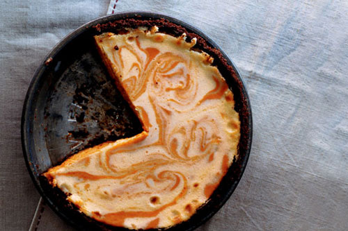 Pumpkin Ginger Cheesecake Pie, Photo Credit: Romulo Yanes, Gourmet