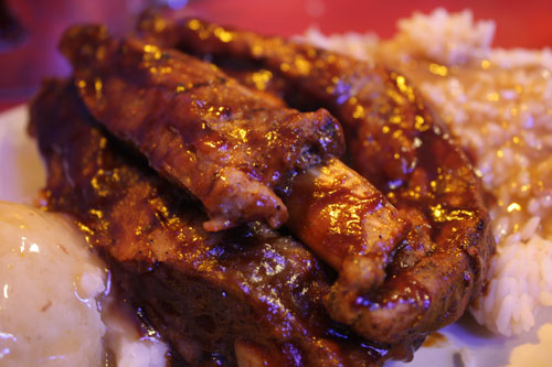 BBQ Spare Ribs, Mashed Potatoes, Rice and Gravy