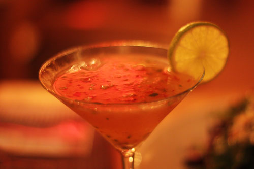 Karaitini – Wasabe sake infused vodka, fresh strawberry, jalapeno, and ginger