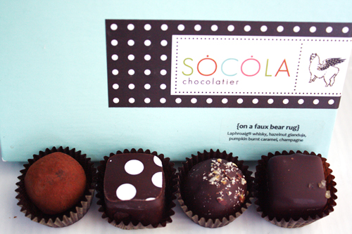 Socola Chocolatier, holiday collection {on a faux bear rug}