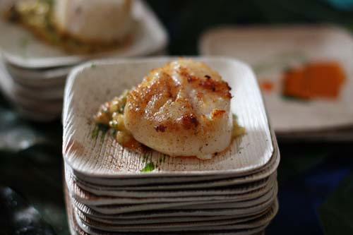 Seared Scallop over Uni Risotto