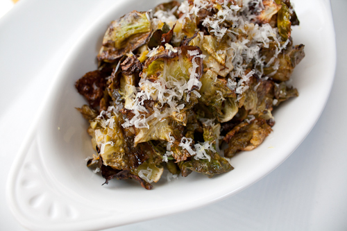 Roasted Brussels Sprout Chips with Lemon and Parmigiano
