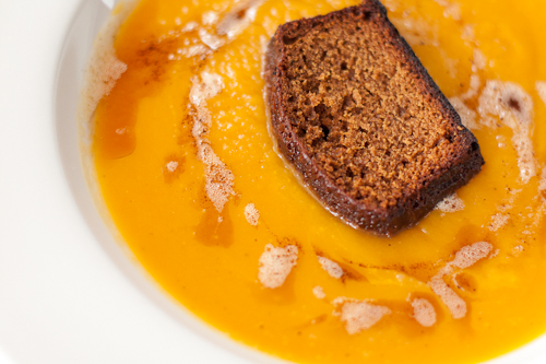 Butternut Squash Soup with Gingerbread and Brown Butter