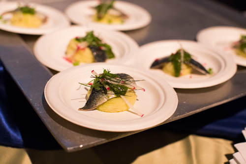 Cured Sardines over Potato Puree from Perbacco