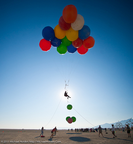 Ballonatic Ascent: Balloon Rides at Burning Man 2011 (Photo Credit: Michael Holden)