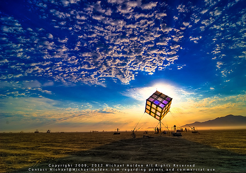 Groovik's Cube, Sunrise, Burning Man 2009 (Photo Credit: Michael Holden)