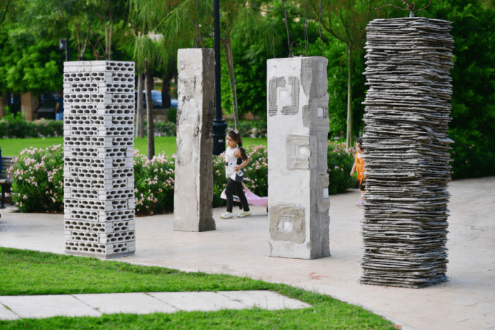 "Lebanese artist Marwan Rechmaoui purposely asked that his concrete and mixed-media ""The Seven Pillars of Wisdom"" be placed facing Sanayeh's permanent Ottoman monument 
