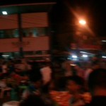 A wide shot of the corner at the Lapu Lapu Marketplace, Mactan around 8pm.