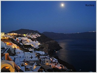 Santorini Full Moon Night Vi