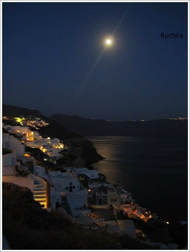 Santorini Full Moon Night View