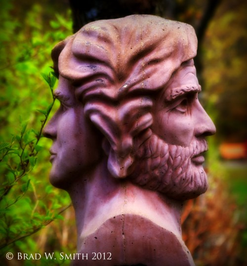 Do You Trust First or Trust Last, Brad W. Smith photographer, LifeIsHOTBlog, statue of heads of woman and man facing away from each other, heads are joined at the back of the head.