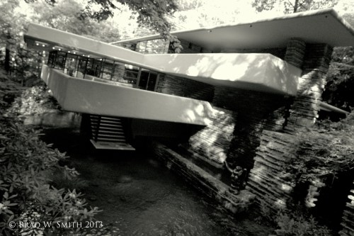 black and white image of Fallingwater