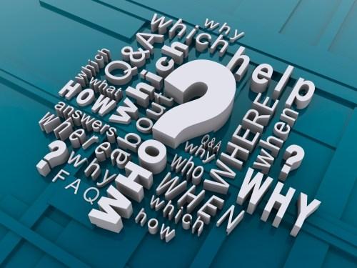 blue field, white words which, who, when, where, why, help, how, Q&A, FAQ