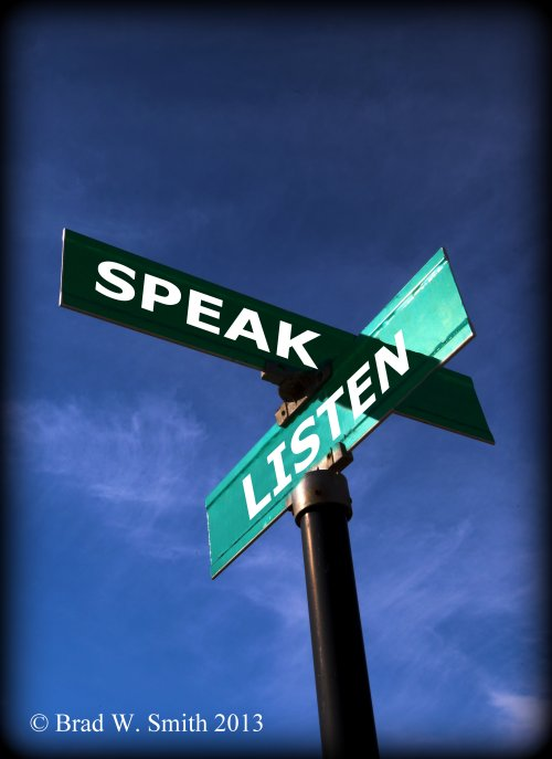 DOT green residential street intersection sign Listen and Speak