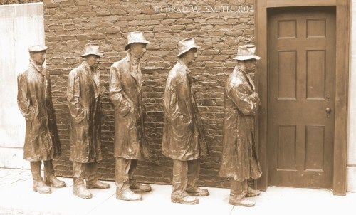 Brad W Smith photographer, LifeIsHOTBlog, Funny Thing about Hell Cast bronze of five men in overcoats and hats, lined up outside a brick building about to enter the door.