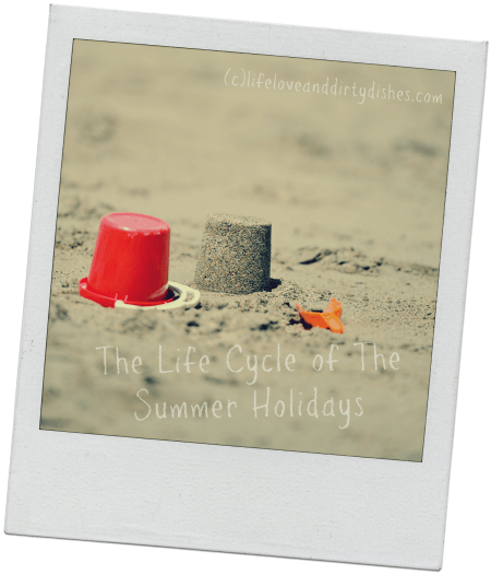 Image of bucket and sandcastle on a beach with the text The life cycle of a Summer Holidays