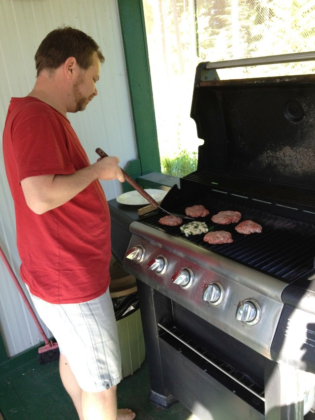 Hubby getting his grill on!
