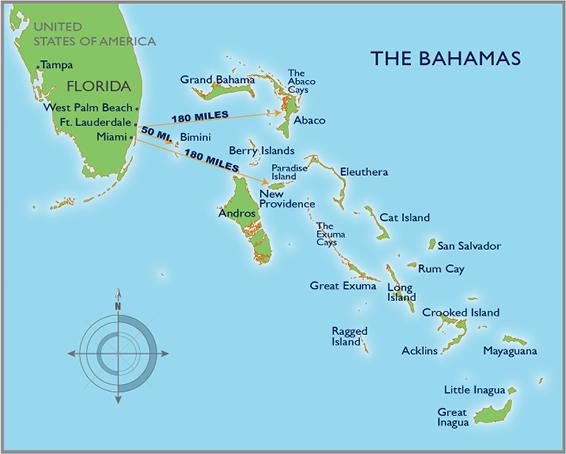 map showing bahamas