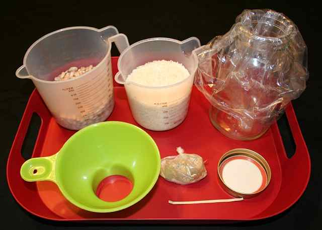 Image shows a red tray with a canning funnel, a cup with beans, a cup with rice, a packet of spices, a mason jar with a plastic baggie in it, the lid for the mason jar, and a twist tie.