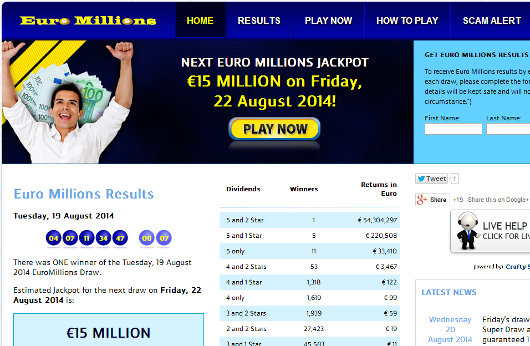 Euro Millions Results Homepage