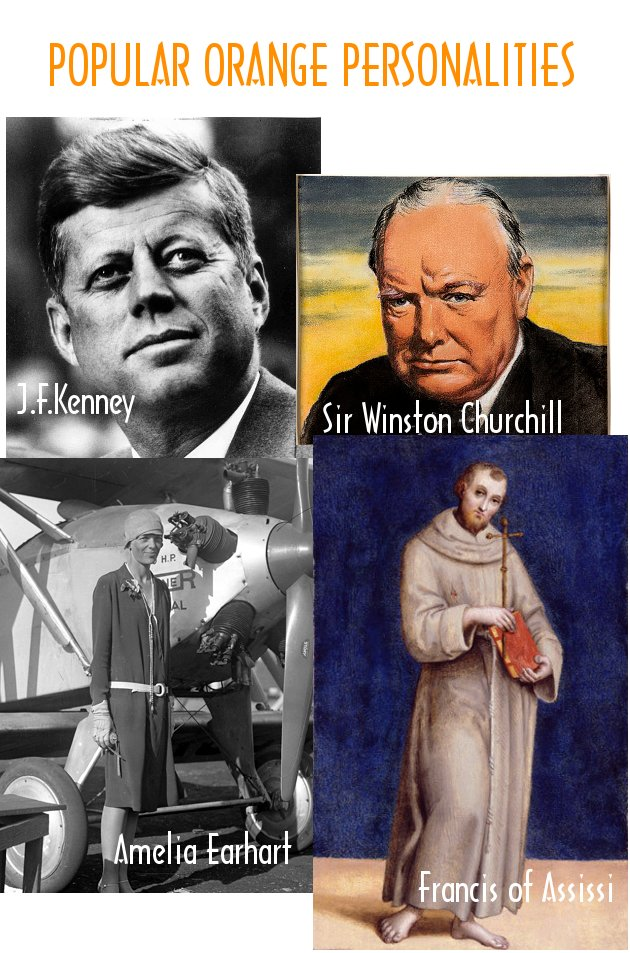 Popular orange personalities - J.F.Kenney, Sir Winston Churchill, Amelia Earhart, Francis of Assissi